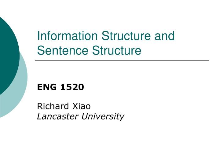 information structure and sentence structure n.