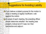 suggestions for avoiding liability