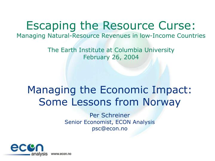 Escaping the Resource Curse: