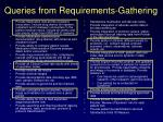 queries from requirements gathering