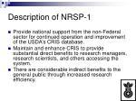 description of nrsp 1