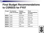 final budget recommendations to csrees for fy07