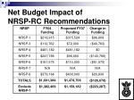 net budget impact of nrsp rc recommendations