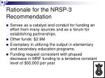 rationale for the nrsp 3 recommendation