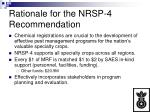 rationale for the nrsp 4 recommendation