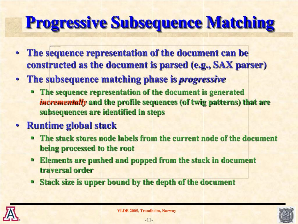 Progressive Subsequence Matching