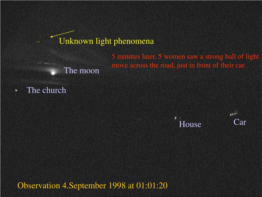 Unknown light phenomena