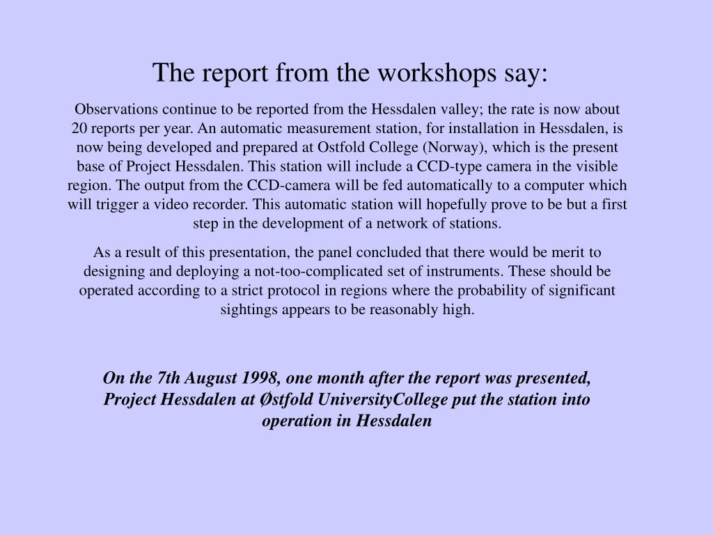 The report from the workshops say: