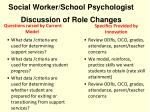 social worker school psychologist discussion of role changes