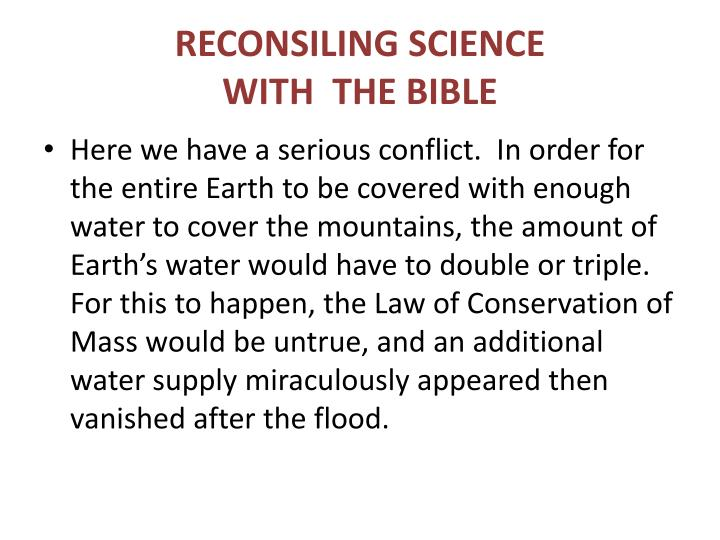 RECONSILING SCIENCE