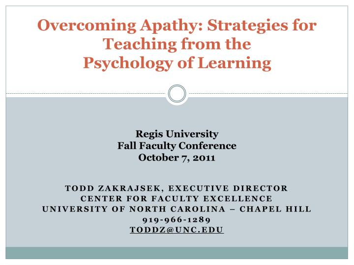 overcoming apathy strategies for teaching from the psychology of learning n.