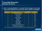 truck rail diversion estimate diversion