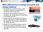 main differences in energy accounts and energy balance