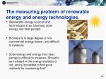the measuring problem of renewable energy and energy technologies