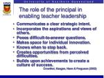 the role of the principal in enabling teacher leadership
