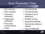 error prevention tools