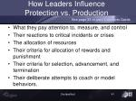 how leaders influence protection vs production