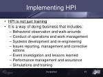 implementing hpi