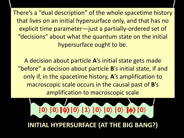 "There's a ""dual description"" of the whole spacetime history that lives on an initial hypersurface only, and that has no explicit time parameter—just a partially-ordered set of ""decisions"" about what the quantum state on the initial hypersurface ought to be."