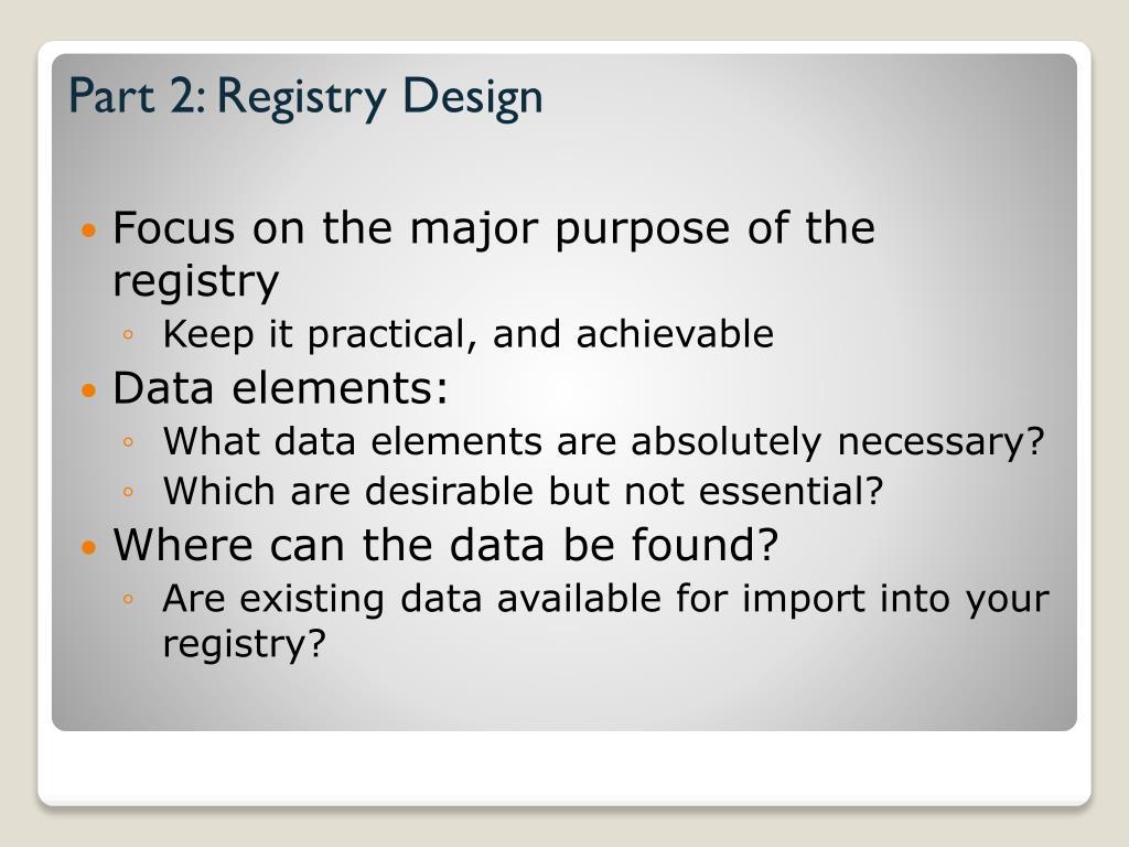 Part 2: Registry Design