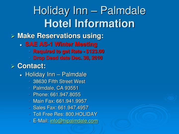 Holiday inn palmdale hotel information
