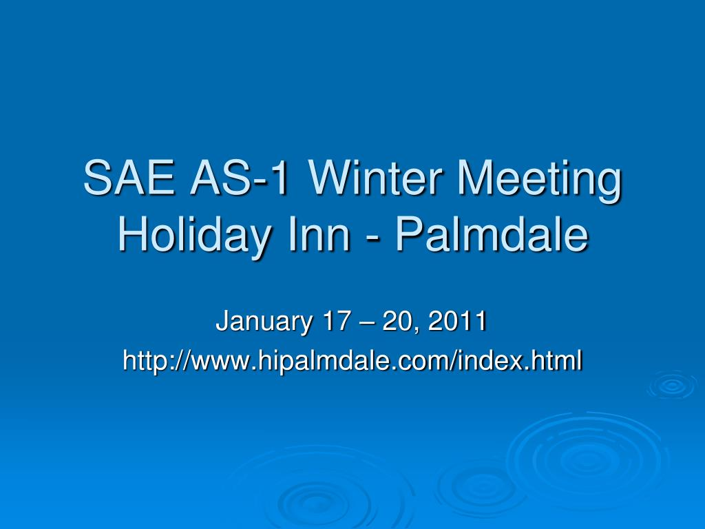 SAE AS-1 Winter Meeting
