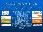 a quick history of lingos