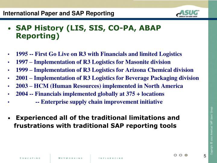International Paper and SAP Reporting