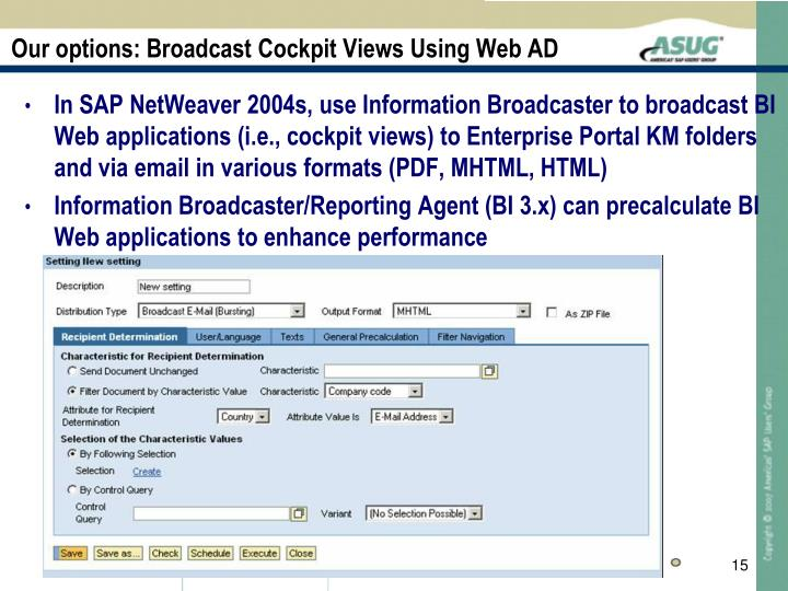 Our options: Broadcast Cockpit Views Using Web AD