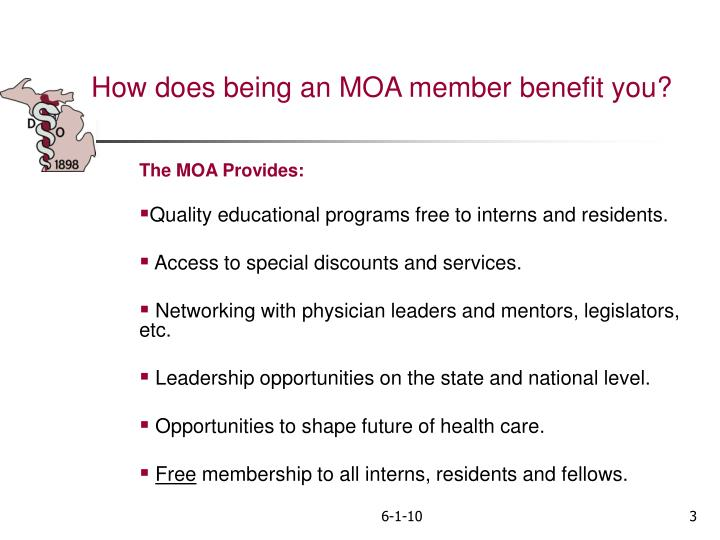 How does being an MOA member benefit you?