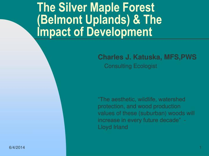 the silver maple forest belmont uplands the impact of development n.