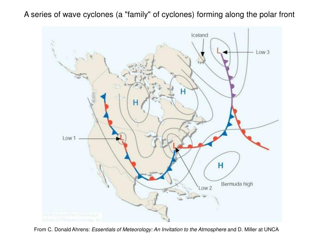 """A series of wave cyclones (a """"family"""" of cyclones) forming along the polar front"""
