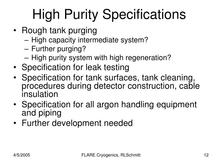 High Purity Specifications