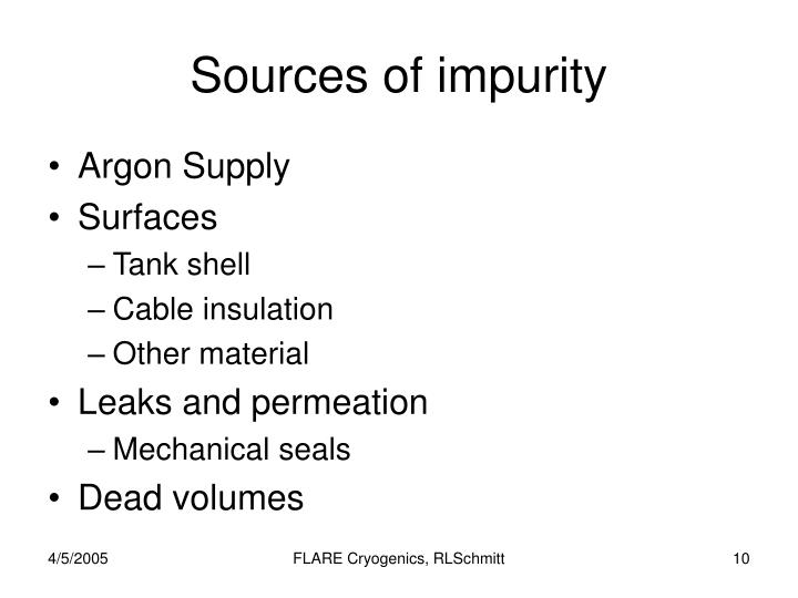Sources of impurity