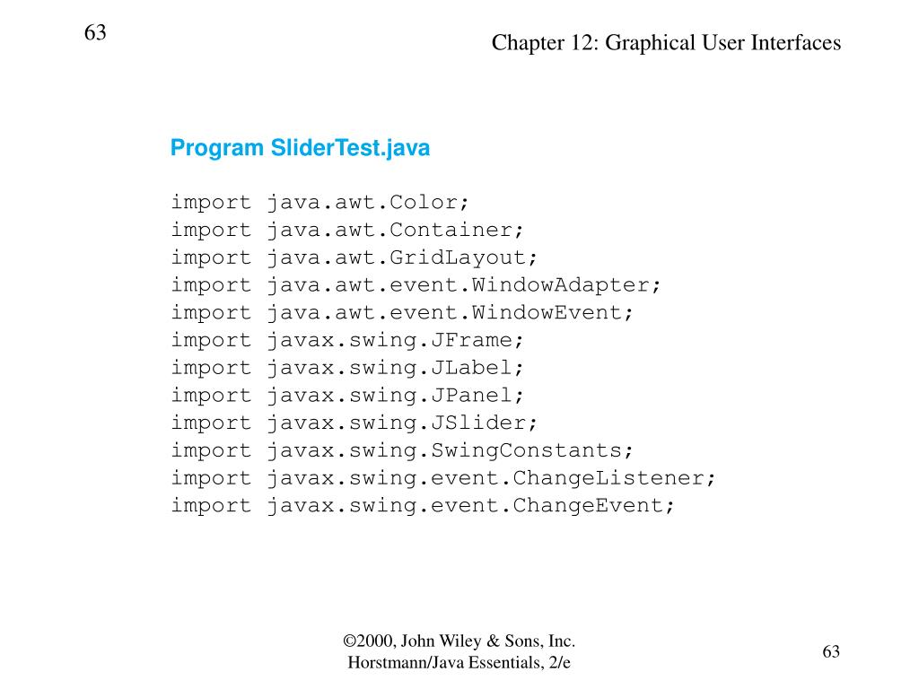 Program SliderTest.java