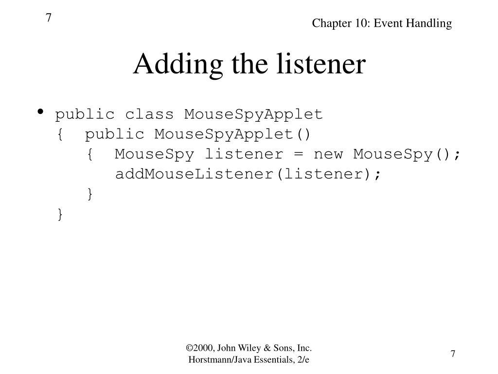 Adding the listener