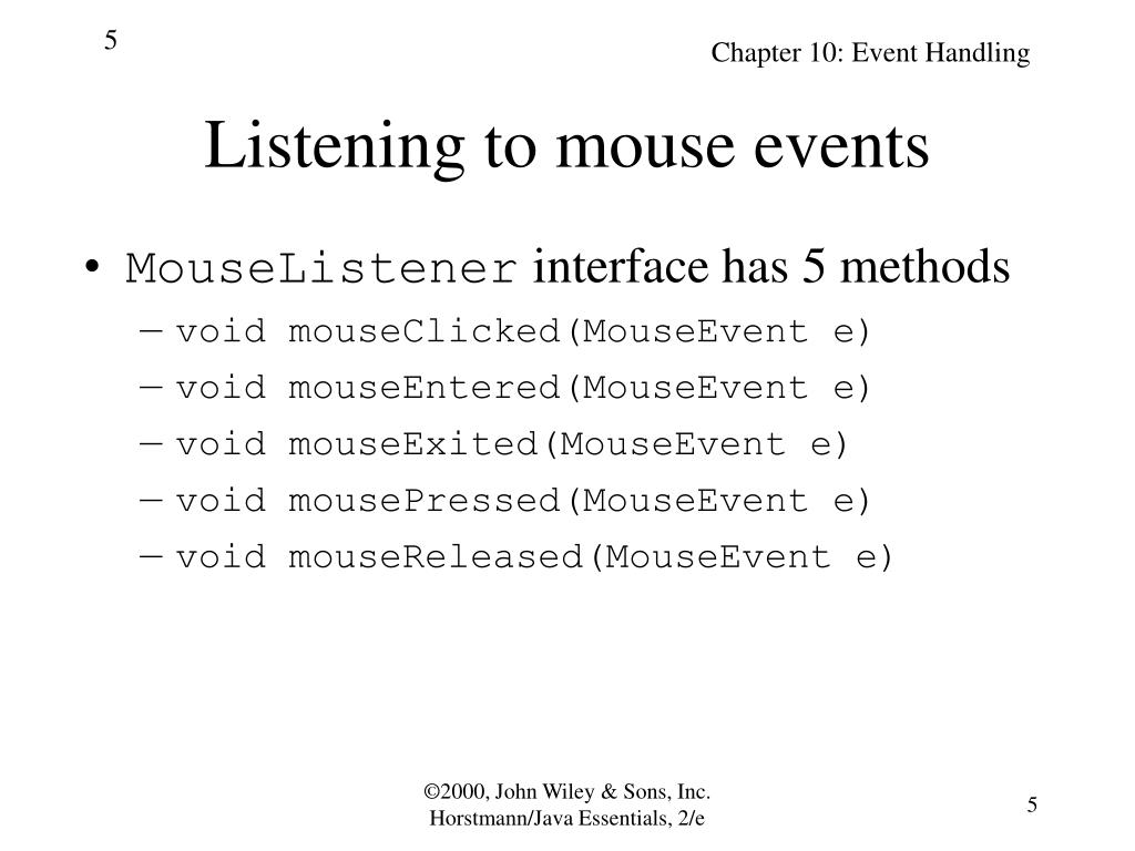 Listening to mouse events
