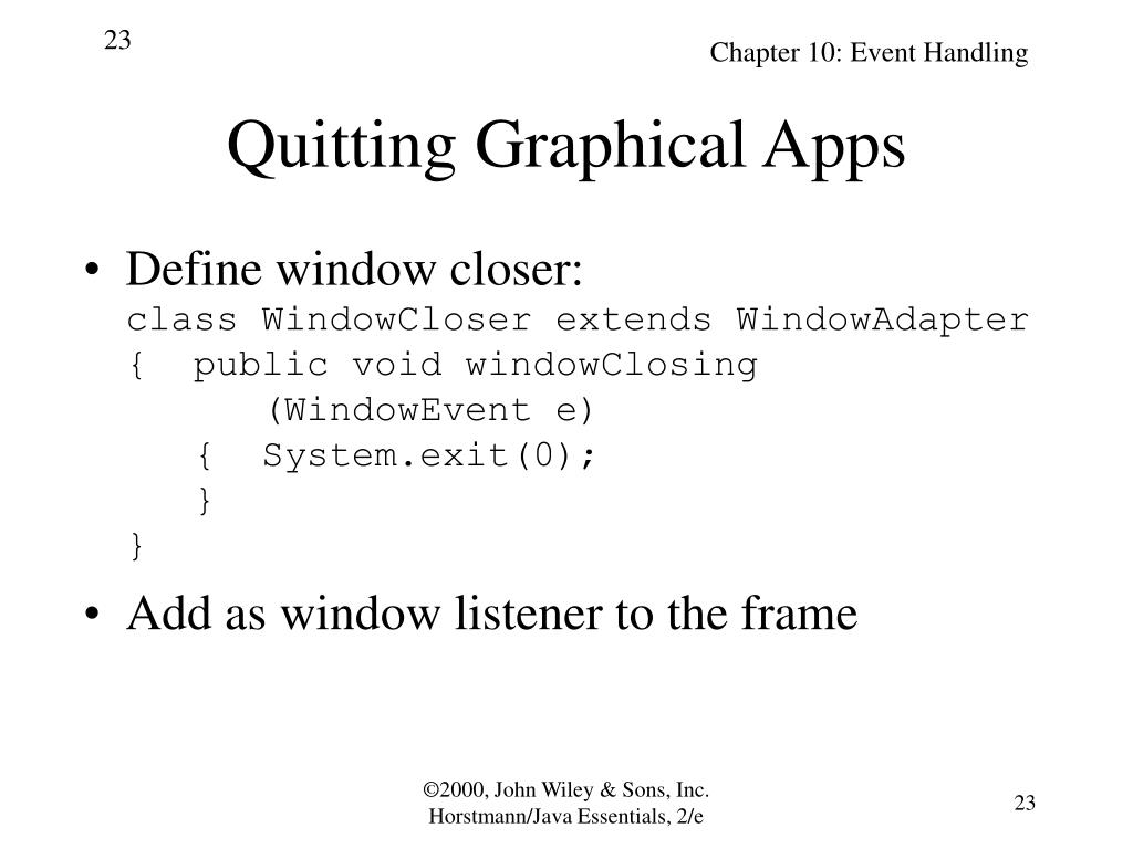 Quitting Graphical Apps