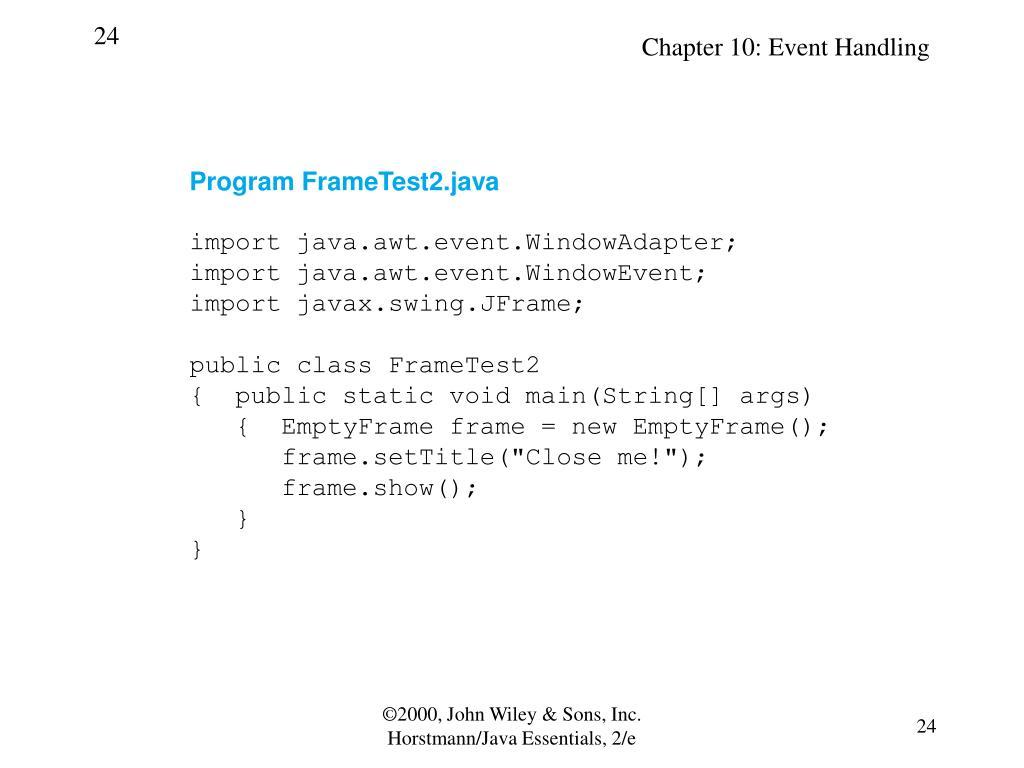 Program FrameTest2.java