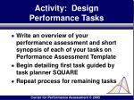 activity design performance tasks