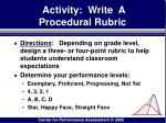 activity write a procedural rubric