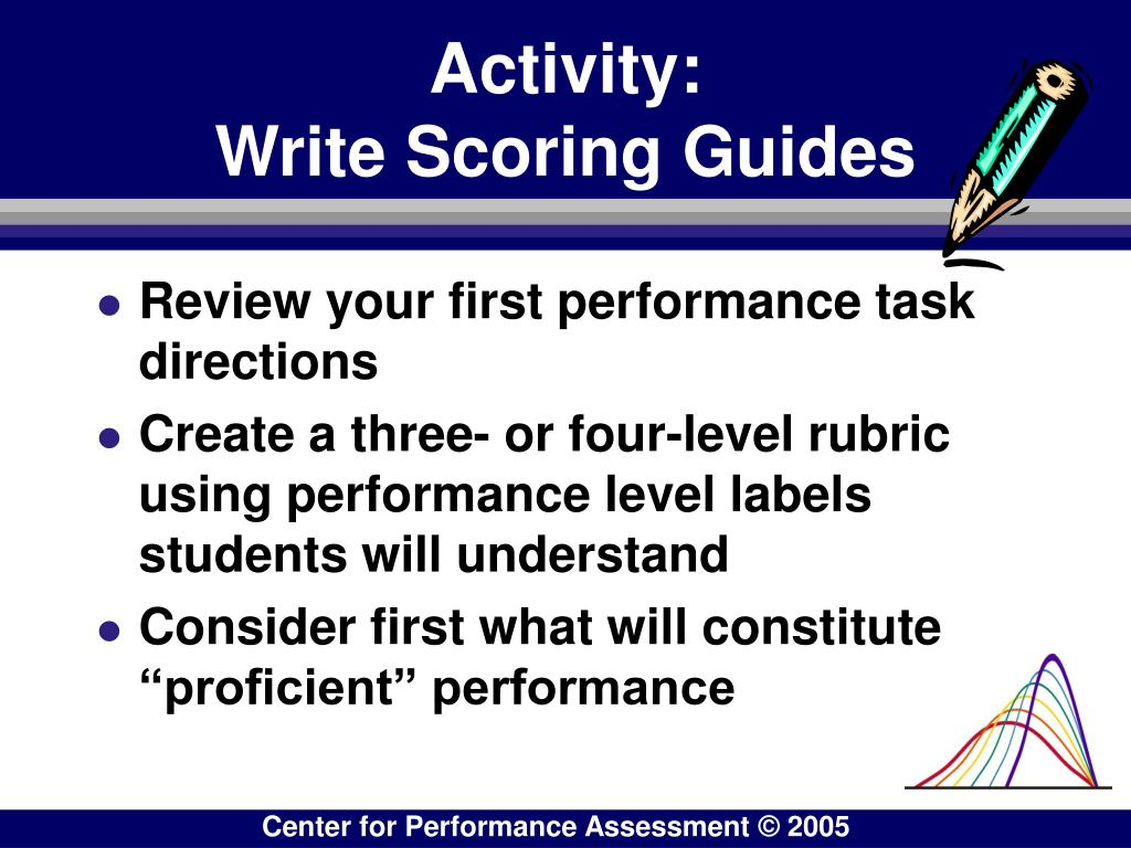 Activity:                           Write Scoring Guides