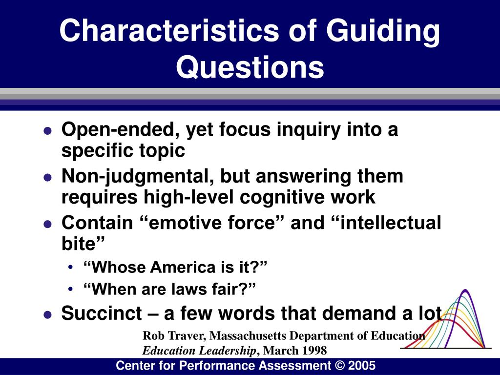 Characteristics of Guiding Questions