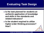 evaluating task design