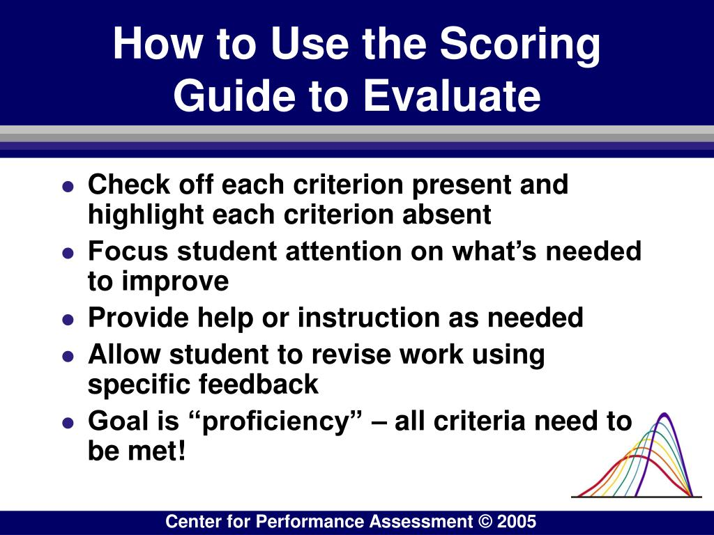 How to Use the Scoring Guide to Evaluate