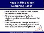 keep in mind when designing tasks96