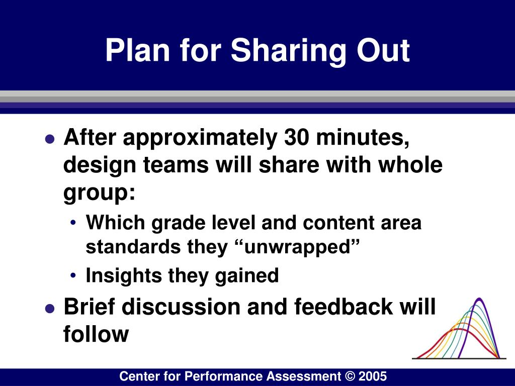 Plan for Sharing Out
