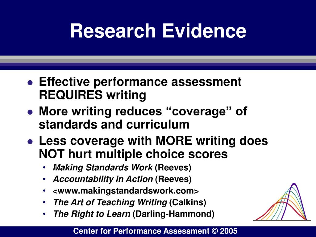 Effective performance assessment REQUIRES writing