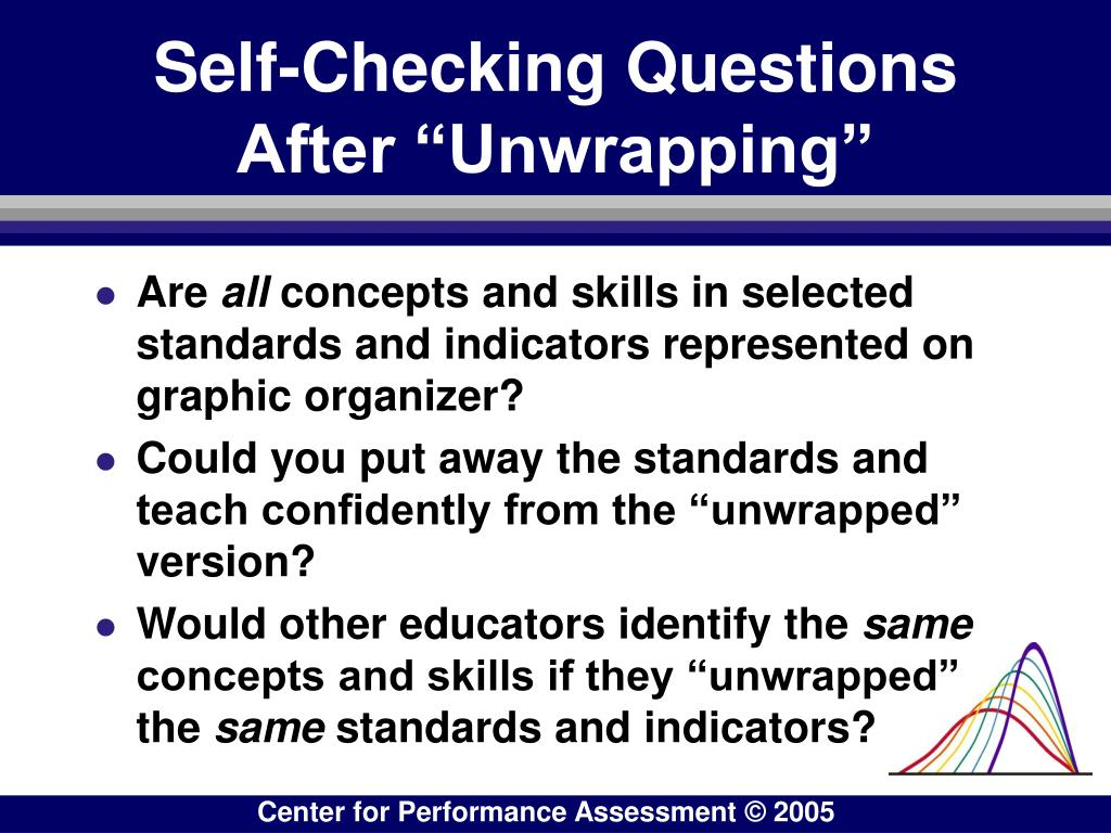 "Self-Checking Questions After ""Unwrapping"""