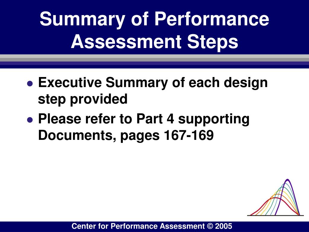 Summary of Performance Assessment Steps